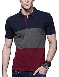FashCloud Plain Blue Anthra Maroon Half Sleeve Polo T Shirt for Men