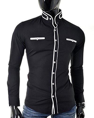 D&R Fashion Hommes Shirt avec coupe à la mode Grandad Collier et fixation décorative Noir