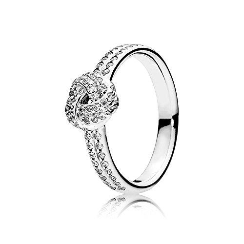 Pandora Damen Ring Funkelnder Liebesknoten in silber mit Zirkonia Steinchen besetzt