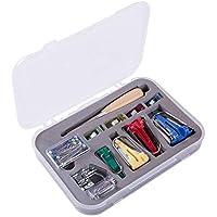 Fabricante de Cinta Bias Práctico Juego de Manualidades 4 Tamanos 6mm/12mm/18mm/25mm Accesorios para Costura y Acolcha con Punzón Agujas de Perlas Prensa de Pies Ajustable Clip de Tela