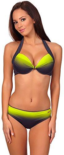 aQuarilla Damen Bikini Set Barbados (Graphite/Lemon, 44) (Bikinis Hot Mädchen Sexy)