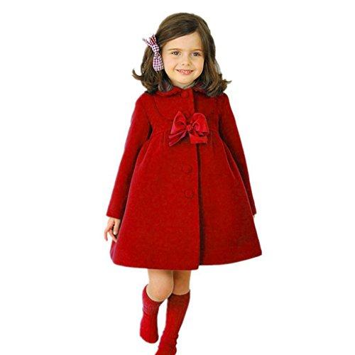 Huhu833 Baby-Kapuzen Mantel, Kinder Baby Mädchen Herbst Winter Mantel Jacke Mantel Dicke Warme Kleidung (3T-110CM, Rot) (Herbst Mädchen Kleidung)