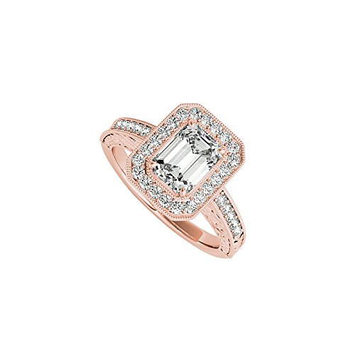 Emerald Cut CZ Halo Engagement Ring in 14K Rose Gold