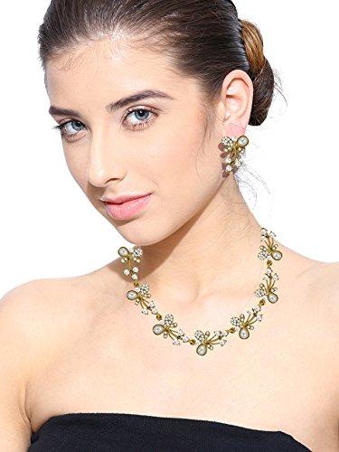 Zaveri Pearlsaustrian Diamond & Pearls Gold Tone Necklace Set For Women - Zpfk5216