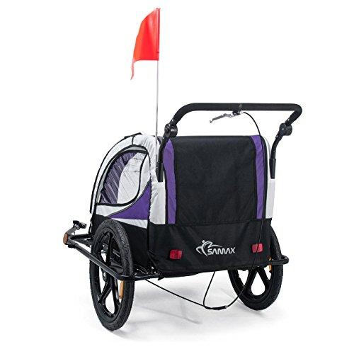 SAMAX Fahrradanhänger Jogger 2in1 360° drehbar Kinderanhänger Kinderfahrradanhänger Transportwagen vollgefederte Hinterachse für 2 Kinder in Lila – Black Frame - 4