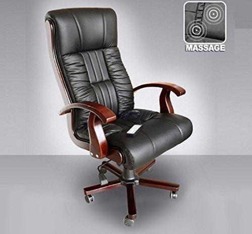 """Leder Chefsessel Massagesessel Direktorensessel Bürosessel """"Royal"""" Sessel mit Massage Farbe schwarz, Fußkreuz und Armlehnen aus Holz Drehstuhl für Büro"""