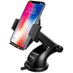 Idea Regalo - Supporto Auto Smartphone, Beikell Supporto per Telefono per Auto [360 Gradi di Rotazione] con Cruscotto Regolabile e Supporto per Braccio Estensibile per Auto Forte Rilievo in Gel Appiccicoso