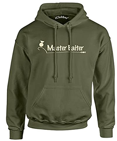 iClobber Master Baiter Carp Fishing Men's Hoodie Hoody Funny Carping Fish Sweatshirt Carper - X Large Adult - Olive Green As Shown