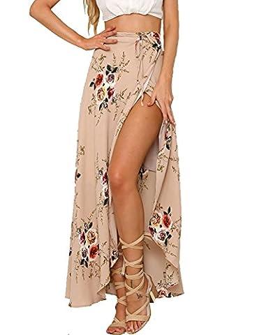 Chickwin Women's Summer High Waist Cover Up Boho Floral Print Beach Wrap Maxi Skirt (UK 8-10, Pink)