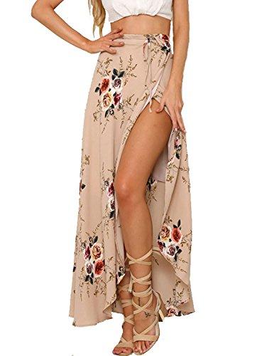Chickwin Sexy Asymétrique Haute en été pour Femme Boho Imprimé Floral Maxi Jupe (EU 42-44, Rose)