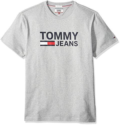 Tommy jeans tjm tommy classics logo tee camicia, grigio (lt grey htr 038), x-large uomo