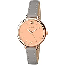Limit Women's Quartz Watch with Rose Gold Dial Analogue Display and Grey PU Strap 6071.01