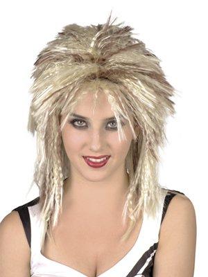 Perücke Lorna blond/braun 80s Punk Rocker Vokuhila