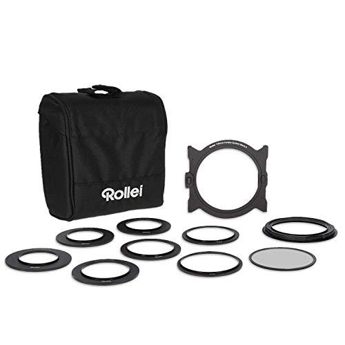 Rollei Mark II Filterhalter Set I Steckfiltersystem für 100mm Rechteckfilter, Einschubfilter inkl Objektivadapter 52 - 82mm, CPL Filter & Filtertasche -