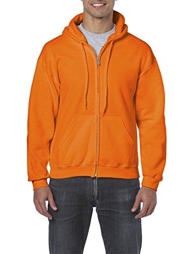 Gildan Herren Kapuzenpullover Adult 50/50. Full Zip Hooded Sweat/18600, Einfarbig, Gr. XX-Large, Orange (Safety Orange 193) Full Zip Sweat