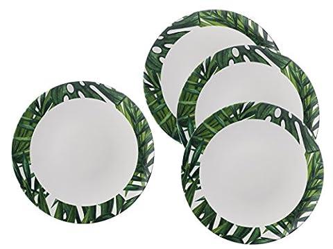 Tropical Vert et blanc Botanics Design–Assiette–Élégant, léger et durable en mélamine pique-nique/barbecue/buffet extérieur Assiette plate–Lot de 4–26cm