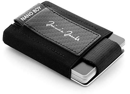 JAIMIE JACOBS Nano Boy Mini Wallet Mini Geldbörse aus Textil mit Zugband Mini-Portmonee für Herren Carbon (Carbon Schwarz)