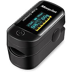 Oxímetro de Pulso de Dedo, Morpilot OLED Monitor Digital de la Saturación del Oxígeno de la Sangre de la Lectura del Instante (Incluye Bolsas de Viaje, AAA Pilas y un Cordón)