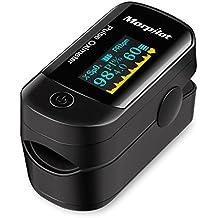 Oxímetro de Pulso de Dedo, Pulsioxímetro, Morpilot - OLED Monitor Digital de la Saturación del Oxígeno de la Sangre de la Lectura del Instante (Incluye Bolsas de Viaje, AAA Pilas y un Cordón)