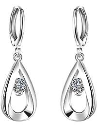 Qian Mu plata plateada forma de l¨¢grima con bisagras largas cuelgan gota pendientes c¨²bicos de circonita para las mujeres