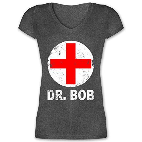 Kostüm Shady Slim - Karneval & Fasching - Dr. Bob Kostüm Kreuz - M - Anthrazit meliert - XO1525 - Damen T-Shirt mit V-Ausschnitt