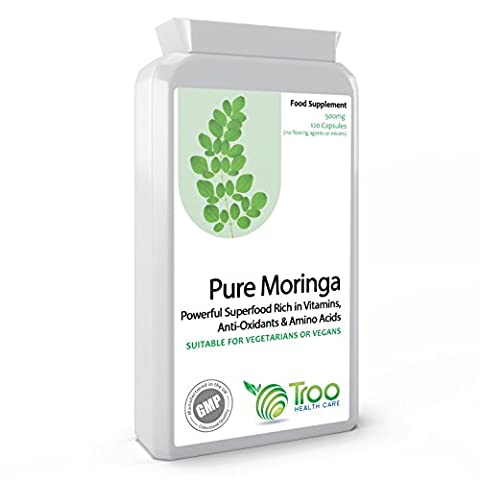 Moringa Oleifera 500mg 120s Capsules - 100% Pure Moringa Powder in Vegan Friendly Capsules - UK Manufactured to GMP and ISO 9001 Quality Assurance