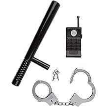 Idena 8040006 - Juego de policía de 3 piezas: porra, esposas y Walkie-Talkie