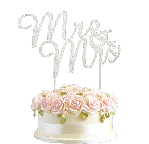 Lulu Sparkles LLC Crystal Rhinestone Bling Wedding Monogram Mr & Mrs Cake topper Wedding cake topper Bling Keepsake (1, silver clear)