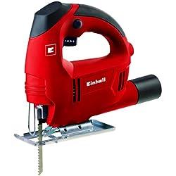 Einhell TC-JS 60 E - Sierra de calar electrónica, hoja de sierra para madera, aspiración de polvo, 410 W, 230 V, color rojo