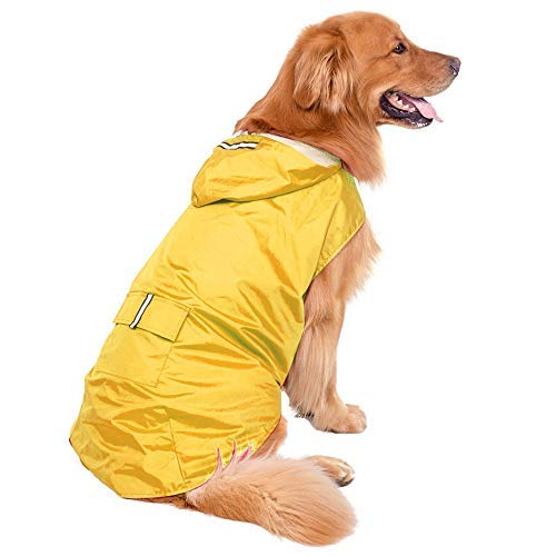 Bwiv Hunde Regenmantel Wasserdicht Hundemantel Groß Gefüttert Ultraleichte Atmungsaktive Hundejacke Reflexstreifen Regenjacke Hunde Mit Kapuze 3XL-6XL Gelb 6XL