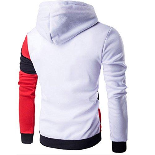 Herren Kapuzen Streifen Patchwork Slim Fit 7 Farben lässige Pullover Sweatshirts Weiß