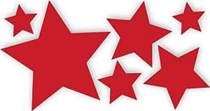 6 Stück rote, selbstklebende Sterne Autoaufkleber Fensterdekoration Fensterbild / Fensteraufkleber, Wandtattoo Deko Sticker, Weihnachtsdekoration, Schaufenster In- und Outdoor 62s1