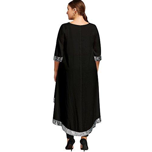 CharMma Damen Übergröße 3/4 Arm Pailletten Trim Asymmetrisch Elegant Longline Kleid Schwarz