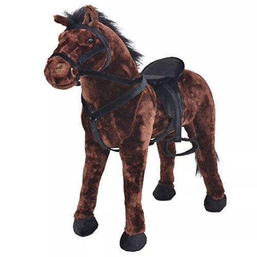 Festnight Soft Standing Horse Plush Horse Toy - Dark Brown, Plush, 71x62 cm