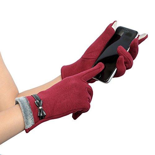 (TEBAISE Handschuhe Winter Damen Touchscreen Künstliches Wildleder super weiche Handschuhe Outdoor Fahrradhandschuhe dickes Wildlederhandschuhe Karneval Fasching Fasnacht)