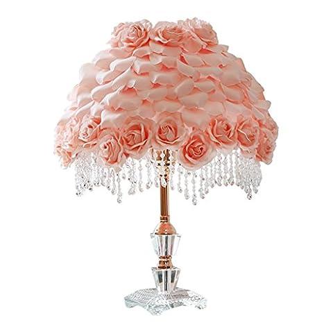 Rose Blütenblatt Tischlampe, Prinzessin Mädchen Schlafzimmer Kristall dekorative Tischlampe E27 Metall Vergoldung Prozess (rosa)