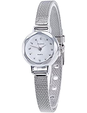 XLORDX Damen Armbanduhr Klein Analog Mesh Edelstahl Quarz modisch Zeitloses Design Dünn Silber