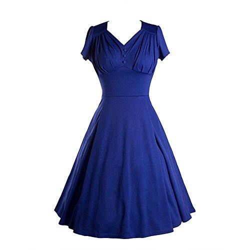JOTHIN Damen 2017 Neu Ballkleid Einfarbige V-ausschnitt Rockabilly Kleid Frauen Kurz ärmel Festliche Kleider Blau