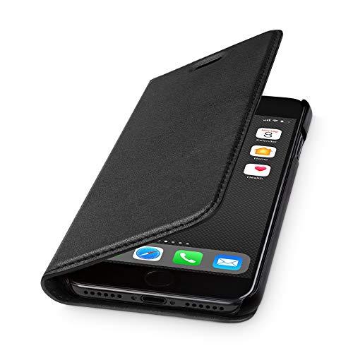 WIIUKA Echt Ledertasche - TRAVEL 2.0 - für Apple iPhone 8 & iPhone 7 mit Kartenfach, extra Dünn, Tasche Schwarz, Leder Hülle kompatibel mit iPhone 7/8