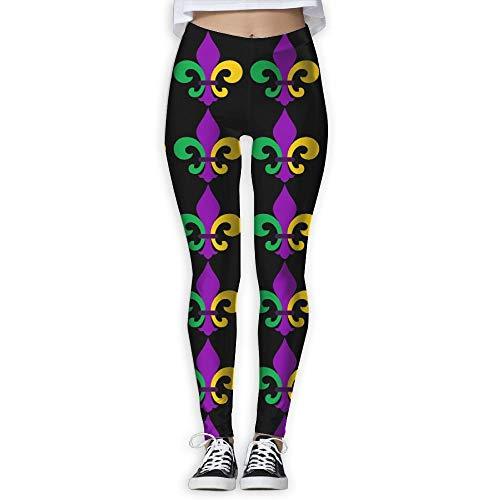 wwoman Mardi Gras Fleur De Lis Women's Slim Workout Full Length Yoga Pant Skinny Leggings Pants Pants,S (Mardi Gras Strumpfhosen)