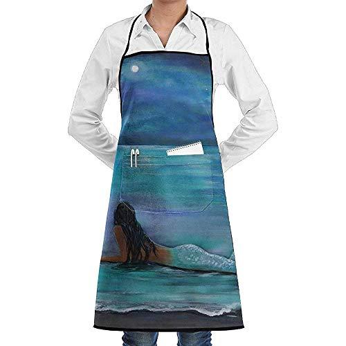 UQ Galaxy Küchenschürze,Meerjungfrau Mond Und Sterne Schürze Spitze Unisex Chef Einstellbare Lange Voll Schwarz Kochen Küchenschürzen Lätzchen Mit Taschen Für BBQ Backen Crafting (Mann Im Mond Kostüm)