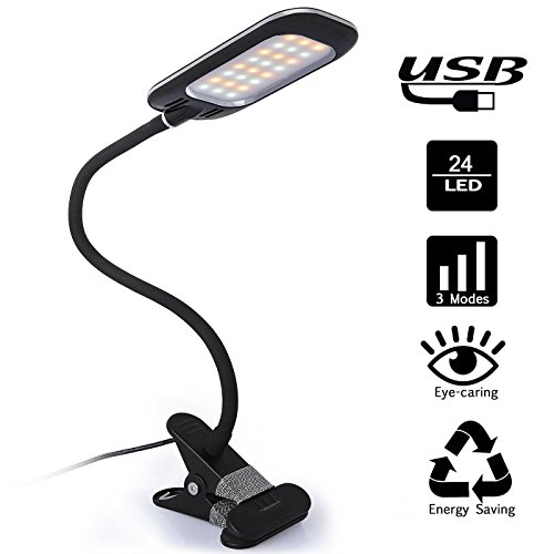 BestFire-Dimmable-LED-Desk-Lamp-5W-USB-Powered-Eye-caring-Table-Lamps-with-24-LEDs-2-Dimming-Levels-3-Lighting-Modes-Flexible-Clip-On-Lights-for-ReadingStudyingWorkingBedroomMusic