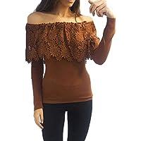 Damen Langarm Bluse, Frashing Bluse mit Carmen-Ausschnitt Langärmeliges T-Shirt mit Spitze Trägerlose Schulter Slim Fit Basic-Shirt Oberteile Elegant Casual Pullover
