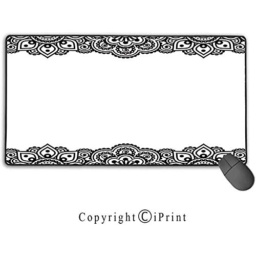 Große Mausunterlage, Henna, Damast inspiriertes Grenzdesign Folkloristische Mehendi-Locken-Blumen-Art kulturell, schwarz40X75CM -