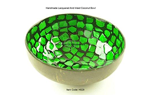Handgefertigt Dekorative Schale aus Kokosnuss, lackiert & eingelegten mit sea-shell Homeware Collection, runde Form, grünen, H029