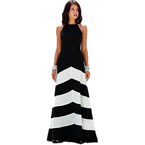 JXLOULAN Abito da estate delle donne di cucitura Slim Bianco Vestito a righe nero elegante e