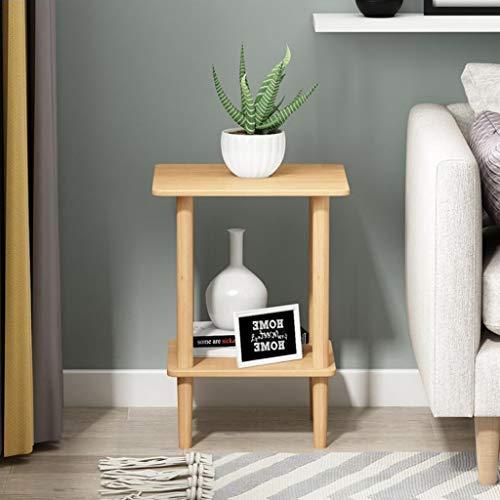 T-Day Beistelltische Nachttisch Tische Couchtisch Quadratischer Doppelendtisch-Beistelltisch-Beistelltisch, einfach zu montieren Doppelschicht Dekor Innen und Außen -