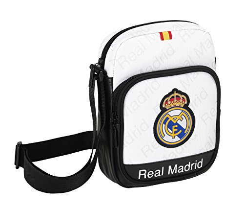 Safta 048330Real Madrid Umhängetasche, Weiß (Real Madrid Messenger Tasche)