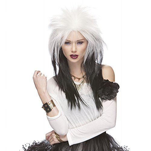 Characters Extra Long Rocker Synthetic Wig - White And Black