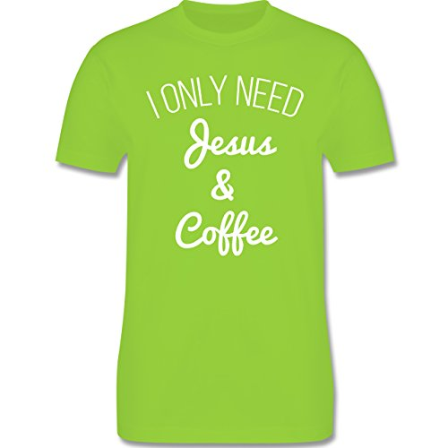 Statement Glaube Religion - I only need Jesus and Coffee weiss - Herren T-Shirt Hellgrün